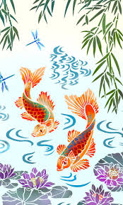 42 best mural stencils images on pinterest bird stencil charming mural stencil with koi carp water lilies bamboo and water swirls 11 sheet