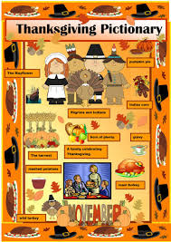thanksgiving vocabulary pictionary worksheet free esl printable