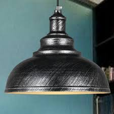 Antique Silver Pendant Lights Industrial Pendant Light With Antique Silver And Black Metal In