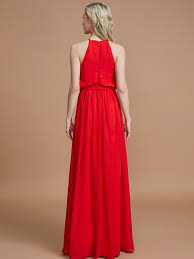 sash ribbon a line halter sleeveless with sash ribbon belt floor length chiffon