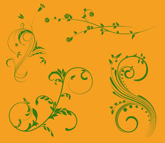 nature scroll ornaments vector graphics freevector