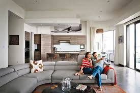Living And Kitchen Design by Soft Gray Sofa For Stunning Contemporary House Concept Hupehome