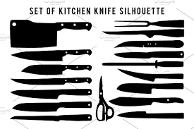 what is a set of kitchen knives set of kitchen knife silhouette objects creative market