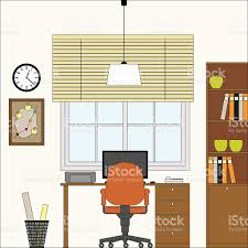 home interior vector home office flat interior vector illustration stock vector