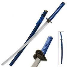 black and blue samurai katana swords for sale measure 37