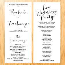 simple wedding ceremony program simple wedding ceremony wedding program card modern minimalist