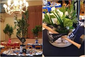 baseball wedding table decorations baseball theme yankees centerpieces modern blue green bar mitzvah