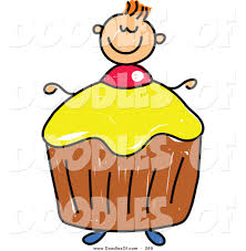 vector clipart of a childs sketch of a smiling boy with a cupcake