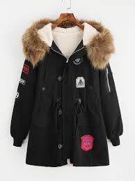 faux fur lined parka coat shein sheinside