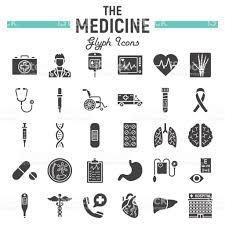 medicine glyph icon set medical symbols collection healthcare