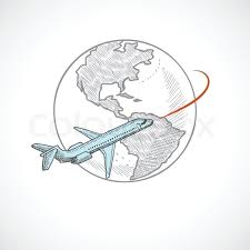 aircraft jet flying around the globe sketch icon isolated on white