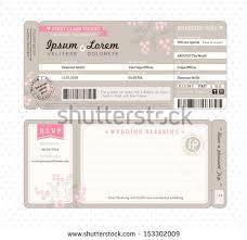 Movie Ticket Wedding Invitations Boarding Pass Ticket Wedding Invitation Template Stock Vector