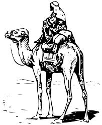 camel with rider 2 black white line art tatoo tattoo