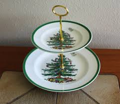 2 tier cake cupcake spode christmas tree plate stand tidbit tea