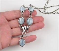 blue glass necklace vintage images Vintage amco sterling silver light blue moonstone glass necklace jpeg