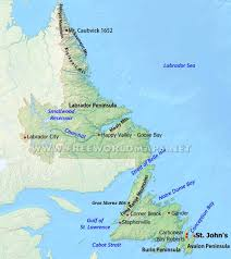 St John Map Physical Map Of Newfoundland And Labrador