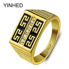 aliexpress buy new arrival fashion 24k gp gold yinhed brand luxury wedding rings for men 24k gold color fashion