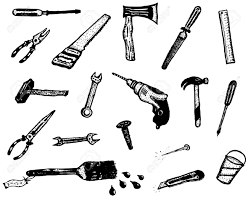 illustration of a set of do it yourself elements such hand drawn