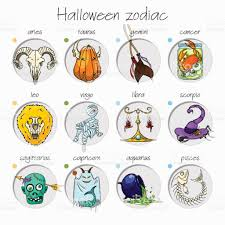 Zodiac Sign Colorful And Funny Halloween Zodiac Signs All Elements Stock