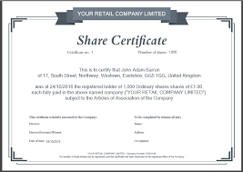 shares certificate template doc 900636 doc585455 shares