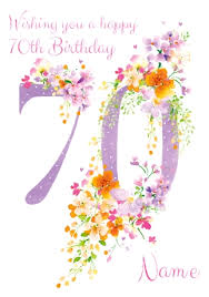 70th Birthday Cards 70th Birthday Card Floral Adornment Funky Pigeon