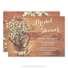 jar bridal shower invitations rustic baby s breath jar wood bridal shower invitations