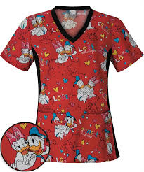connect the ducks print scrub top donald duck scrubs
