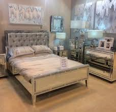 Mirror Bed Frame Mirrored Crushed King Size Bed Frame With Crushed Velvet