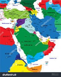 World Map Middle East by Middleeast Political Map Vector Stock Vector 48323695 Shutterstock