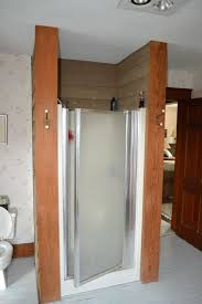 glass block walk in shower with diy interior shower wall panels