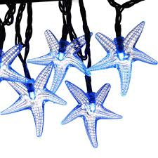 solar powered halloween decorations luckled 30 led starfish solar string lights 20 feet blue