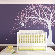 monogram wall decals for nursery large windy nursery tree decal with birdhouse carnation pink and