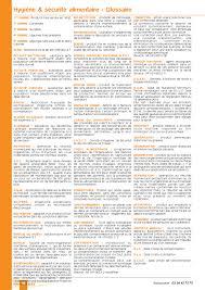 glossaire de cuisine glossaire hygiène restauration collective