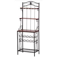 Bakers Rack Shelves Vintage Interior Decoration With Tall Wrought Iron Framed Bakers