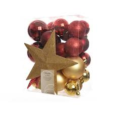and gold shatterproof baubles with tree topper 33 pack