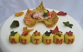 edible autumn leaf u0026 baby personalised christening baptism cake