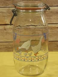 vintage arcoroc duck theme glass canister 2 liter glass