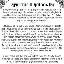 the pagan origins of april fools day spellcraft