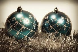 retro christmas card with christmas tree decorations close up