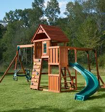 Big Backyard Swing Set Cedar Brook Backyard Play Set With Monkey Bars U0026 Rockwall