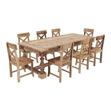 Teakwood Dining Table Rustic Teak Wood Trestle Base Dining Table And Chair Set