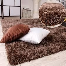 tappeto a pelo lungo tappeto shaggy a pelo lungo leggermente screziato in marrone