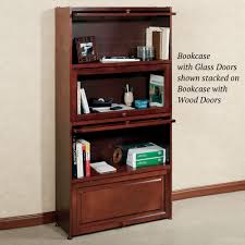 Glass Bookcase With Doors by Aubrie Cherry Bookcase With Wooden Panel Doors