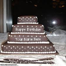 write name on happy birthday layered cake happy birthday cake
