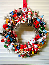 vintage christmas wreath with wooden toys all i want for
