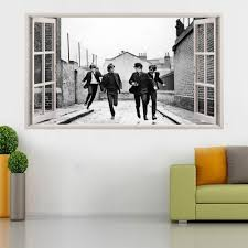 home decor wall art stickers the beatles vinyl poster open window broken wall decal 3d wall art