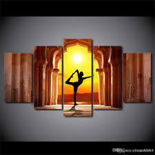 Livingroom Yoga by 2017 Hd Printed Canvas Art Yoga Fitness Twilight Hall Painting