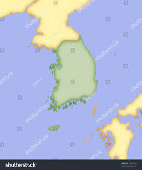 Map Of South Korea Map South Korea Borders Surrounding Countries Stock Illustration
