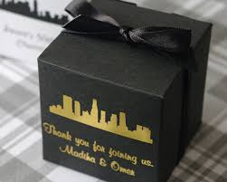 personalized boxes cityscape silhouette personalized cube favor box my wedding favors
