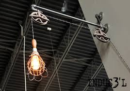 rustic industrial pipe u0026 pulley wall lamp with work light